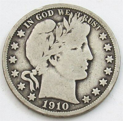 1910 Barber Half Dollar - VG - Very Good Silver 50c