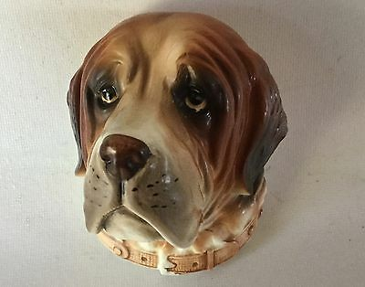 LEFTON Pottery St SAINT BERNARD Dog Head Study H7437 Wall Plaque 1950s Japan