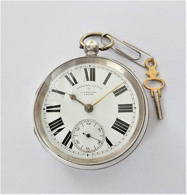 1898 Silver Cased English Lever Pocket Watch A Yewdall Leeds In Working Order