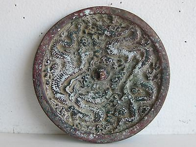 Antique Chinese Cast Bronze Dragon Relief Decorated Hand Mirror