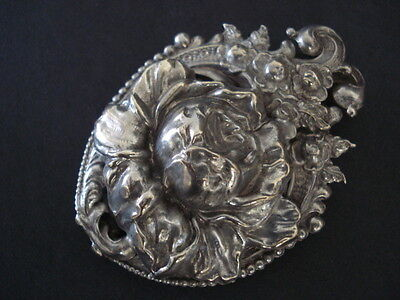 Vintage Sterling Mexico Silver Hair Barrette Rose Repousse