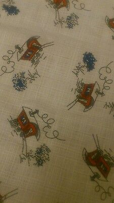 Vintage 50s 60s Fabric Material Curtain Craft Retro House Mid Century