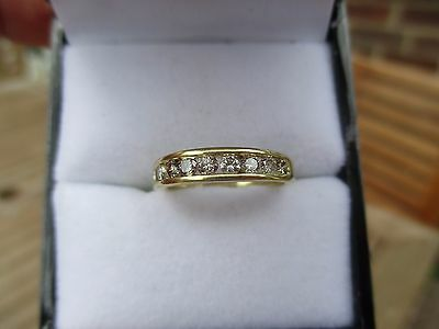 18Ct Gold .50 Diamond Channel  Eternity Ring Size ~  J 1/2 To K~
