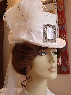 Victorian Ladies White Top Hat Bridal Steampunk Cosplay Riding Millinery Sass