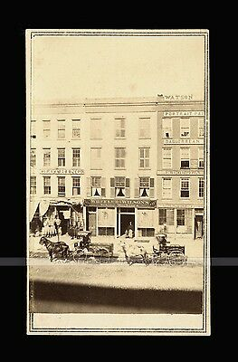 Superb 1860s Detroit Storefront CDV Photo Signs Advertising & Watson Dag Studio