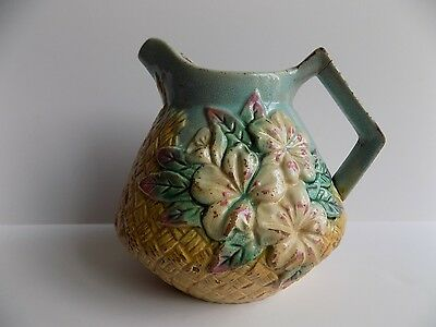 "Antique Majolica PITCHER>Roseville?Blue R Mark>7"" X 7.5"" BASKET WEAVE Flowers"