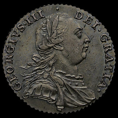 1787 George III Early Milled Silver Shilling, Hearts, EF