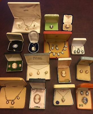 Vintage Collection Gf Sterling Shell Mix Boxed Cameo Pin Necklace Earring Lot 15