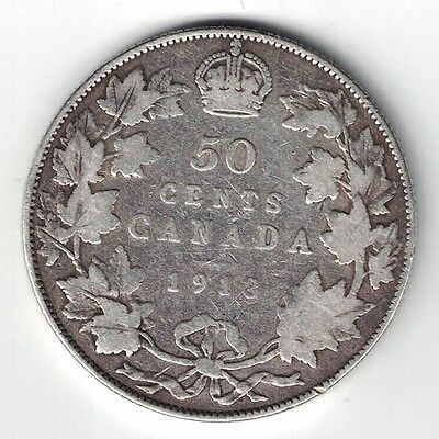 Canada 1913 50 Cents Half Dollar King George V Canadian Sterling Silver Coin