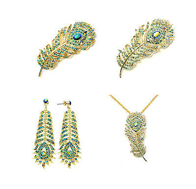 Peacock Feather Pin Barrette Earrings Necklace Set Combo Green AB Mothers Day