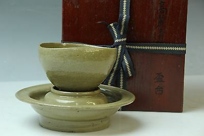 Korean Antique Goryeo Celadon Porcelain Tea Bowl Sake Cup&stand W/box M043