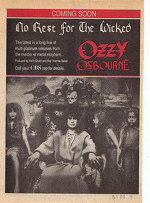 """1988 Ozzy Osbourne """"No Rest For The Wicked"""" Album Trade Print Advertisement"""