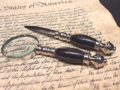 Antique Vintage Style Desk Magnifying Glass Letter Opener Set w Horn Handles