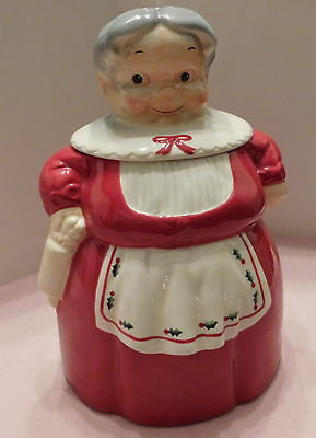 "50s Retro Brush 2004 Large 10.5"" Mrs Claus Cookie Jar Canister Christmas Holiday"