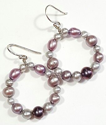 Vintage Jewelry Earrings Silver Tone Multicolor Freshwater Pearls Unique #259