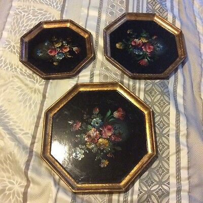 Italian Tole Hand Painted Gilt Wall Art Toleware  Floral Painting Vtg Trays