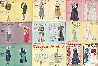 Famous Women-9 Paper Dolls -18 Pages From International Doll World Magazine