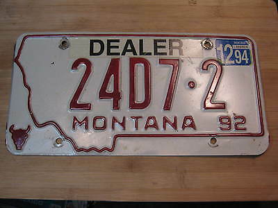 1992 Montana License Plate Expired 24 D 7 2