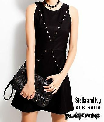AUS womens gothic punk black mini dress size 8 new
