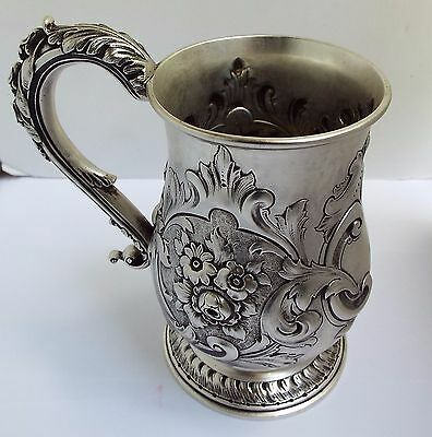WONDERFUL HEAVY 423g ENGLISH ANTIQUE 1854 SOLID STERLING SILVER ONE PINT TANKARD