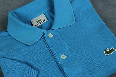 LACOSTE Men's Short Sleeve Light Blue Cotton Polo T-Shirt [SIZE 3 or ~SMALL]