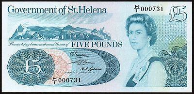 1976 ST HELENA £5 BANKNOTE * H/1 000731 * UNC * P-7a *