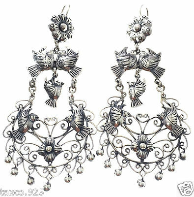 Taxco Mexican 925 Sterling Silver Frida Kahlo Style Deco Floral Earrings Mexico