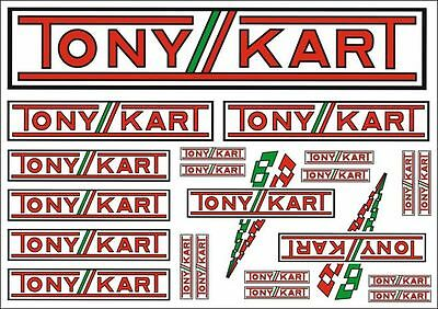 TONYKART Stickers - 21 Decals On An A4 Size Sheet - Karting