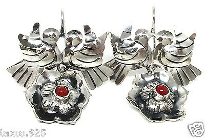 Frida Kahlo Style Taxco Mexican 925 Sterling Silver Coral Bird Earrings Mexico