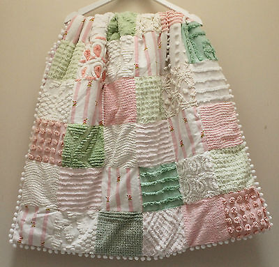 VINTAGE CHENILLE PATCHWORK cot QUILT with POMPOMS