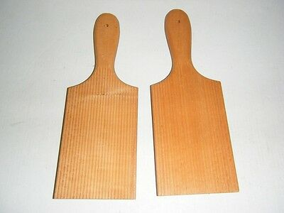 Pair Of Wooden Ribbed Butter Pats