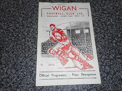 RUGBY LEAGUE PROGRAMME :  WIGAN  v  WHITEHAVEN  1957/8 ~ MARCH 19th *FREE POST*