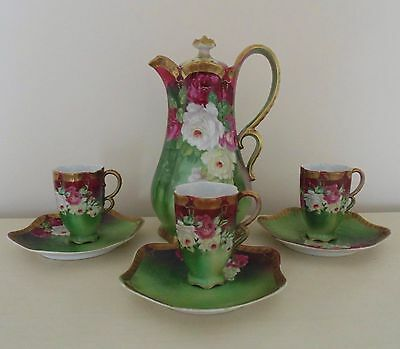 Victorian Roses Chocolate Set Pot Cups Saucers Wittelsbach German Antique