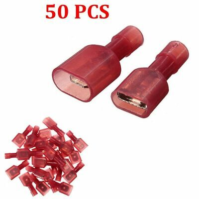 50Pcs Female + Male Insulated Wire Spade Crimp Terminals Connector 22-18AWG Red