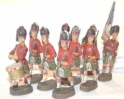 CF04 - German Elastolin 110mm Composition - 9 Marching Highlanders