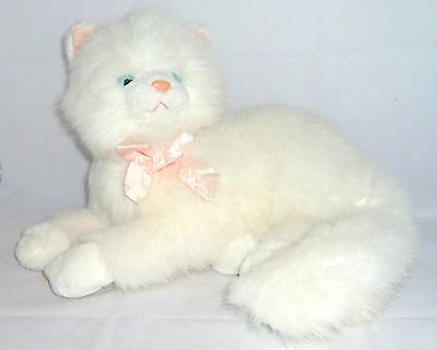 "Beautiful Large Soft Russ Berrie Blue Eyes Persian White Cat "" Nikki ""  13"" Long"