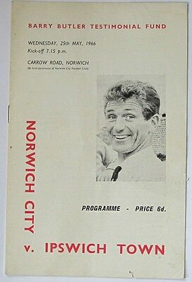 1965/66 Barry Butler Testimonial. Norwich City v Ipswich Town.