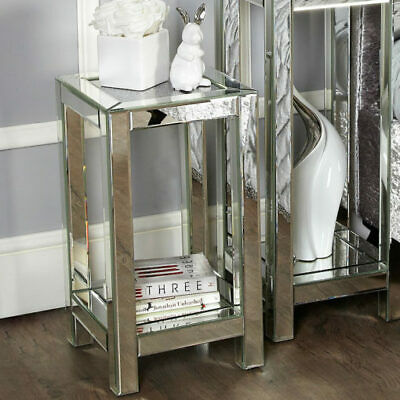 Sparkly Mirrored Glass Crushed Diamond Crystal End Lamp Telephone Bedside Table