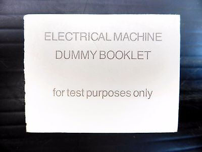 GB Early Machin Electrical Machine Test Dummy Booklet with SEE BELOW NB1397