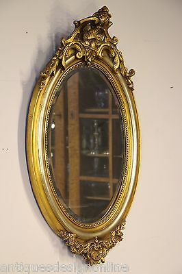 Large oval French Louis gilt mirror ornate carving antique silver gold gilding