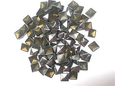 100 x 7mm Gun Metal Hot Fix Pyramid Studs, iron on studs