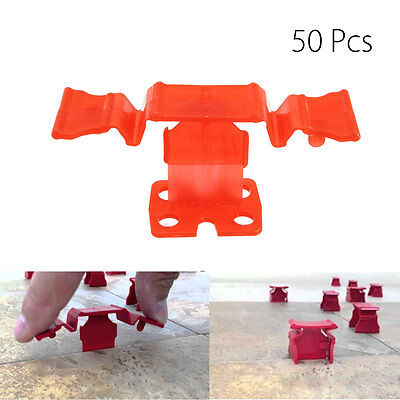 50Pcs Tile Level System Floor Red Seam Spacer Clips Leveling Tool System Lippag