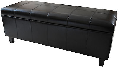 NEW Real Genuine Leather BLACK Ottoman Bedding Box Storage Footstool Pouffe