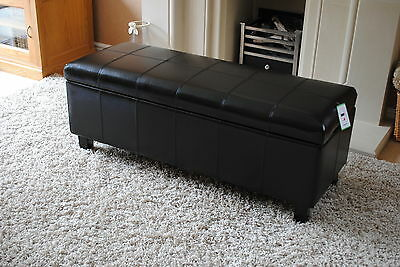 Black Real Leather Storage Footstool Pouffe Ottoman NEW
