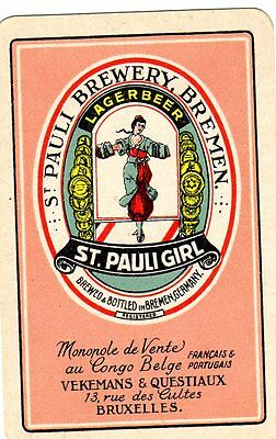 """RARE VINTAGE """"St.Pauli Brewery (Bruxelles)"""" SINGLE Playing Card"""