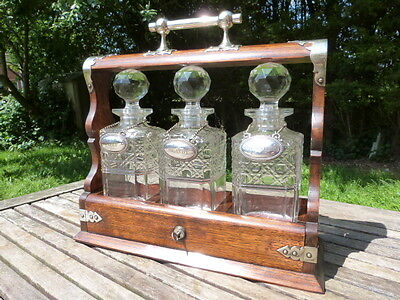Stunning Antique Oak & Silver Plate Three Decanter Tantalus With Labels & Keys.