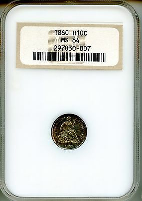1860 Liberty Seated Half Dime NGC MS64 ~ H10c (297030-007) Old Fat NGC Holder