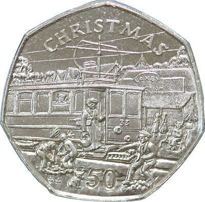 1989 Christmas 50 pence (50p) from the Isle of Man and Christmas card