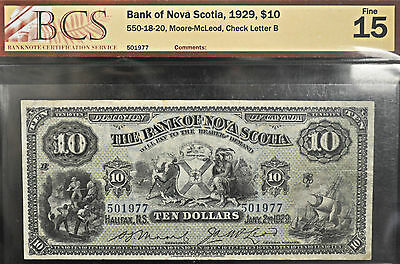 1929 Bank of Nova Scotia $10 BCS graded F-15
