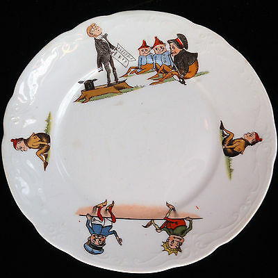 Palmer Cox BROWNIES IN SCHOOL Childs Toy Plate 1900 Taylor Smith Taylor USA